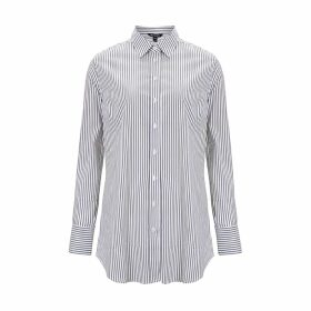 Baukjen - Claudia Shirt In White Navy Fine Stripe