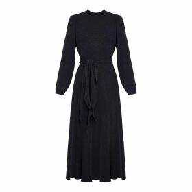 UNDRESS - Elia Black Leopard Print Open Back Flared Midi Dress
