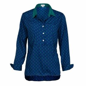 At Last. - Soho Shirt- Royal With Green Collar & Cuff