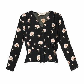 PAISIE - Floral V Neck Blouse With Ruched Waist Detail