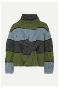 JW Anderson - Cutout Twisted Striped Wool Turtleneck Sweater - Army green