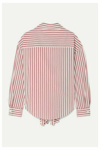 Rosie Assoulin - Reversible Tie-front Striped Cotton-blend Poplin Shirt - White