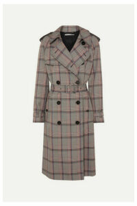 Stella McCartney - Pleated Prince Of Wales Checked Belted Woven Trench Coat - Black