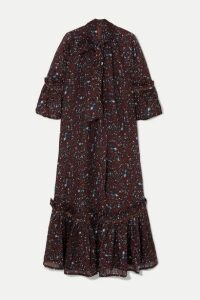 Yvonne S - Angelica Ruffled Tiered Printed Cotton-voile Maxi Dress - Burgundy