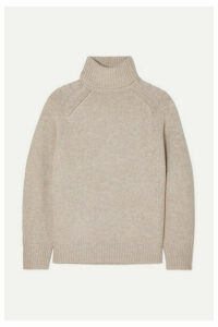 LOULOU STUDIO - Oversized Mélange Wool-blend Turtleneck Sweater - Beige