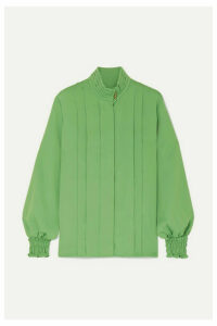 Andersson Bell - Katie Layered Pintucked Crepe Blouse - Green