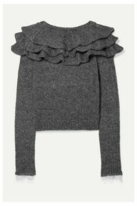 Philosophy di Lorenzo Serafini - Ruffled Lace-trimmed Knitted Sweater - Gray
