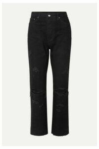 AMIRI - Thrasher Minus Cropped Distressed High-rise Straight-leg Jeans - Black
