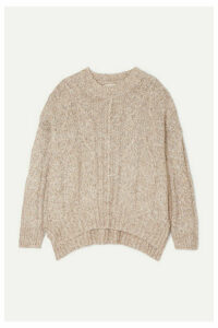 LOULOU STUDIO - Oversized Cable-knit Mélange Cotton-blend Sweater - Beige