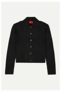 Commission - Tereza Ribbed-knit Cardigan - Black
