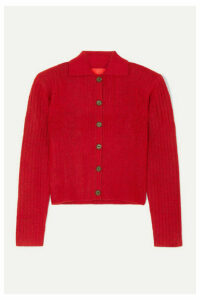 Commission - Tereza Ribbed-knit Cardigan - Red