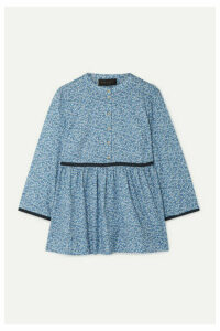 HATCH - The Eleanor Floral-print Cotton-jacquard Blouse - Blue