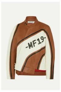 Monse - Asymmetric Leather Biker Jacket - Brown