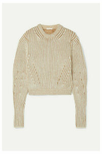 Chloé - Ribbed Two-tone Wool-blend Sweater - Beige