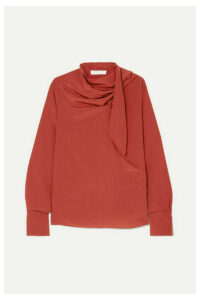 Chloé - Tie-neck Draped Silk Crepe De Chine Blouse - Red