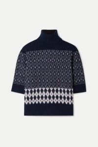 Chloé - Intarsia Merino Wool-blend Turtleneck Sweater - Navy