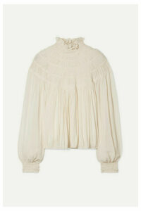 Chloé - Ruffled Pleated Silk-crepe Blouse - Cream