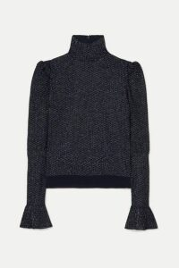 Chloé - Metallic Knitted Turtleneck Top - Navy