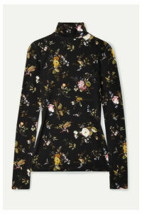 R13 - Floral-print Stretch-jersey Turtleneck Top - Black
