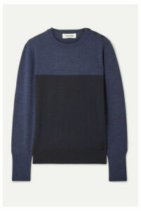 Cefinn - Jenna Button-detailed Color-block Wool Sweater - Navy