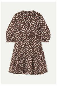 SEA - Alha Tie-dyed Cotton-voile Mini Dress - Brown