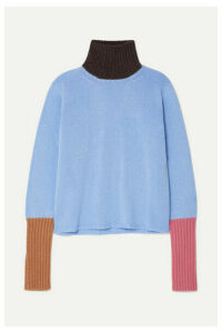 Marni - Color-block Cashmere Turtleneck Sweater - Light blue