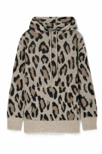 R13 - Oversized Distressed Leopard-intarsia Cashmere Hoodie - Leopard print