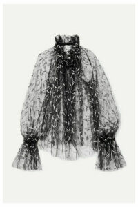 Redemption - Oversized Ruffled Glittered Tulle Blouse - Black