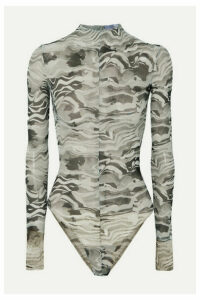 Mugler - Open-back Printed Stretch-mesh Bodysuit - Gray