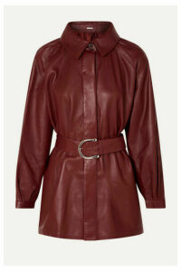 Dodo Bar Or - Belted Leather Shirt - Burgundy