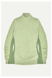 MM6 Maison Margiela - Paneled Ruched Wool-blend Turtleneck Sweater - Light green