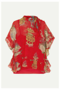 REDValentino - Pussy-bow Ruffled Printed Silk-chiffon Blouse - IT36