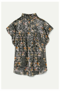 Isabel Marant - Imany Draped Silk And Lurex-blend Jacquard Top - Black