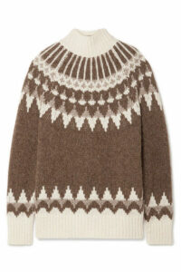 FRAME - Oversized Fair Isle Alpaca-blend Turtleneck Sweater - Brown