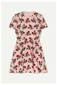 Valentino - Floral-print Wool And Silk-blend Cady Mini Dress - Pink