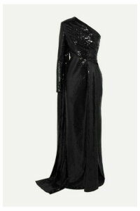 Elie Saab - One-sleeve Draped Sequined Tulle Gown - Black