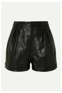 Isabel Marant - Fabot Pleated Leather Shorts - Black