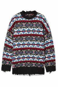 R13 - Oversized Distressed Fair Isle Cashmere Sweater - Blue