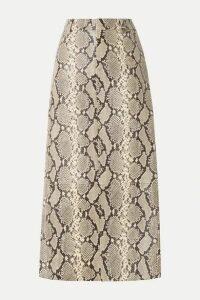 Alexander Wang - Snake-effect Leather Midi Skirt - Snake print
