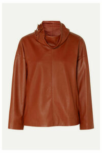 Salvatore Ferragamo - Leather Turtleneck Top - Orange