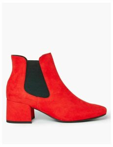 M&S Collection Block Heel Square Toe Chelsea Boots