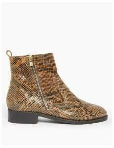 M&S Collection Leather Animal Print Ankle Boots