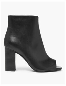 M&S Collection Peep Toe Block Heel Ankle Boots