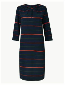 M&S Collection Striped 3/4 Sleeve Shift Dress