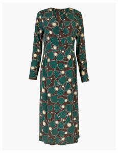 Autograph Leaf Print Relaxed Midi Dress