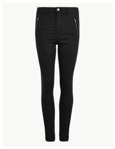 M&S Collection Cotton Twill Zip Detail Skinny Leg Trousers