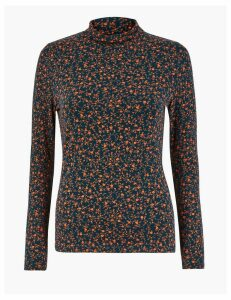 M&S Collection Ditsy Print Long Sleeve Top