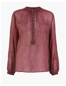 Per Una Ditsy Print High Neck Blouse