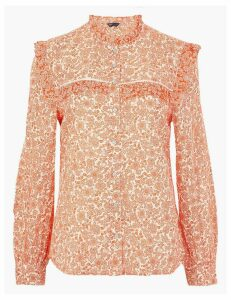 M&S Collection Cotton Blend Floral Print Blouse