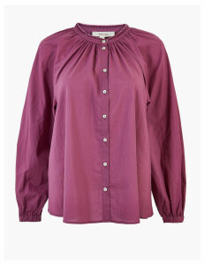 Per Una Pure Cotton Blouson Sleeve Blouse